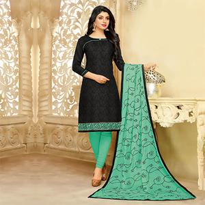 Sizzling Black Cotton Jacquard Designer Embroidered Dress Material
