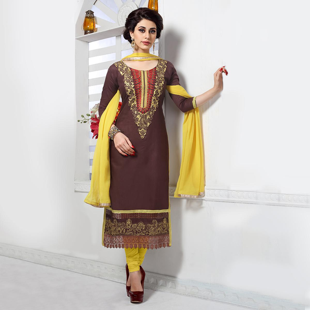 Opulent Brown Colored Party Wear Embroidered Cotton Dress Material
