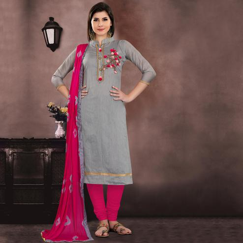 Trendy Gray Colored Embroidered Partywear Chanderi Silk Dress Material
