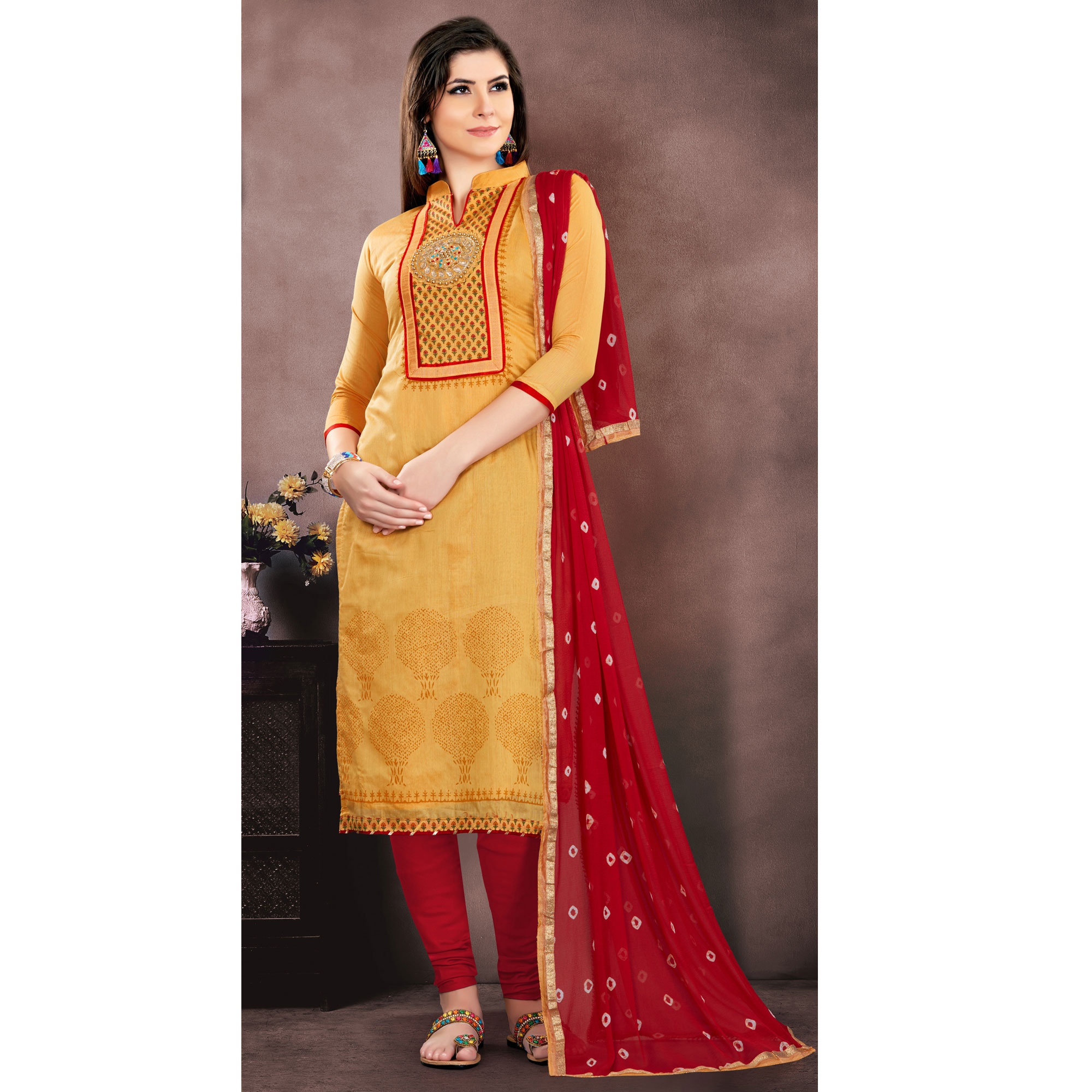Appealing Mustard Yellow Colored Embroidered Partywear Chanderi Silk Dress Material