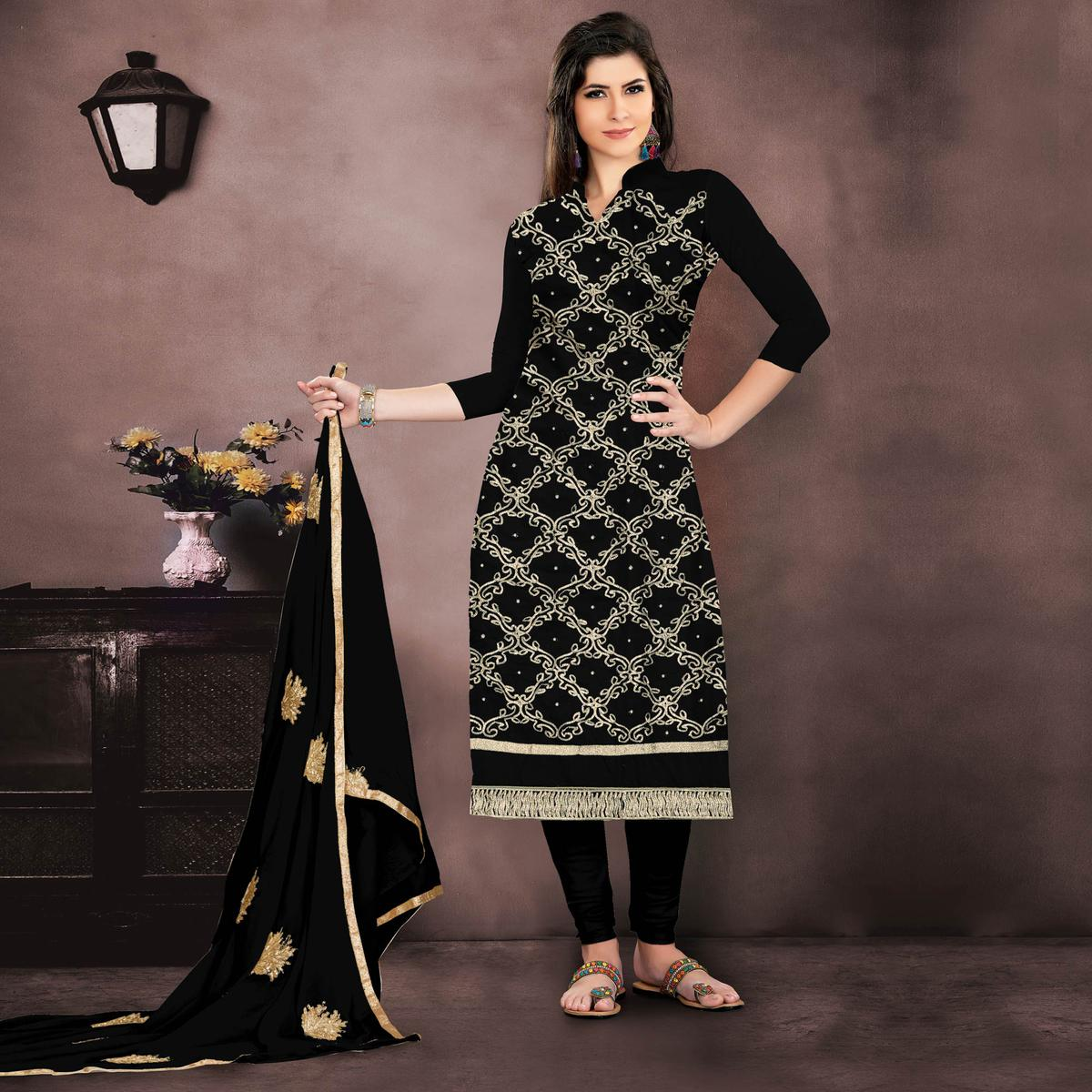 82d9791728 Buy Blooming Black Colored Embroidered Partywear Chanderi Silk Dress  Material online India