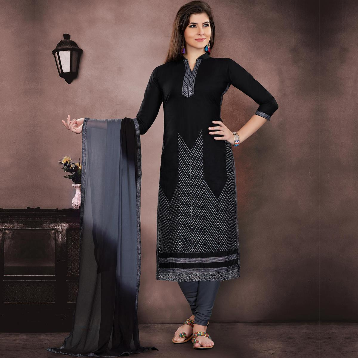 Classy Black Colored Embroidered Partywear Chanderi Silk Dress Material