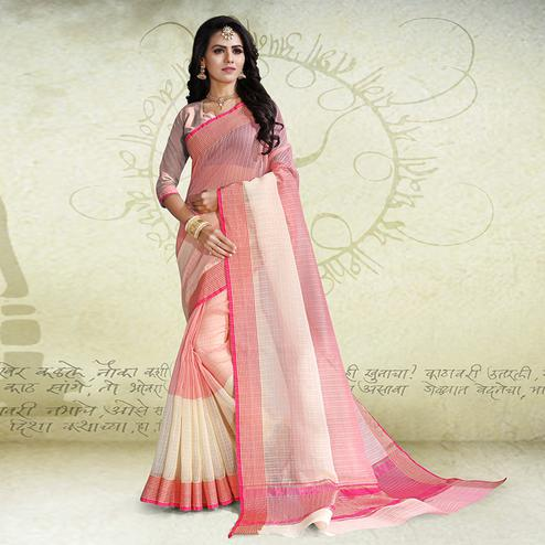 Jazzy Pink Colored Festive Wear Poly Cotton Saree