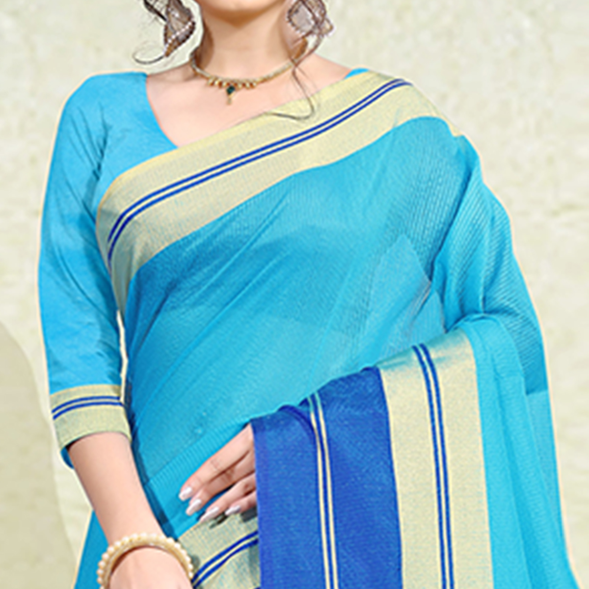Appealing Sky Blue Colored Festive Wear Poly Cotton Saree