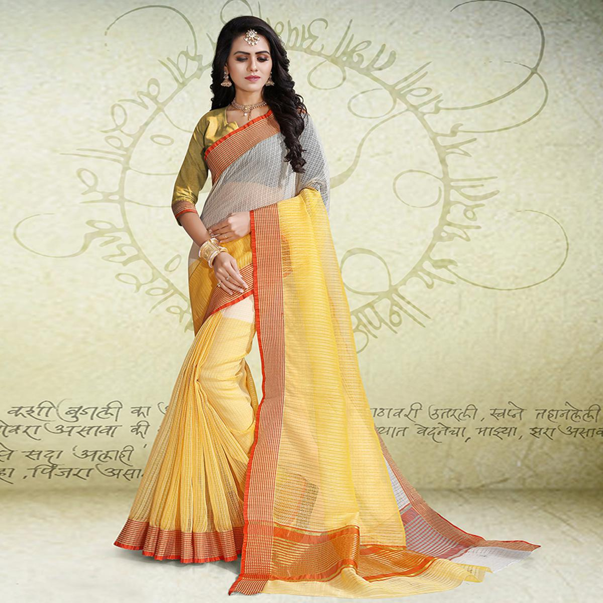 Groovy Yellow - White Colored Festive Wear Poly Cotton Saree