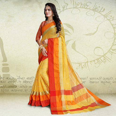 Capricious Yellow Colored Festive Wear Poly Cotton Saree