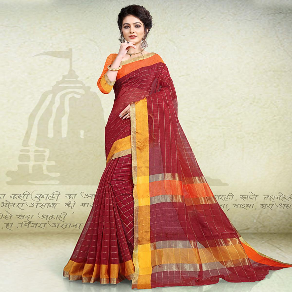 Glowing Maroon Colored Festive Wear Poly Cotton Saree