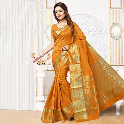 Orange Festive Wear Weaving Silk Saree