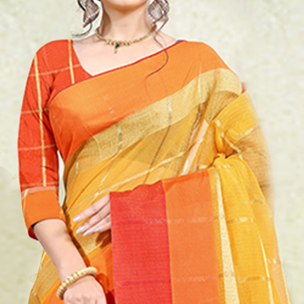 Trendy Yellow Colored Festive Wear Poly Cotton Saree