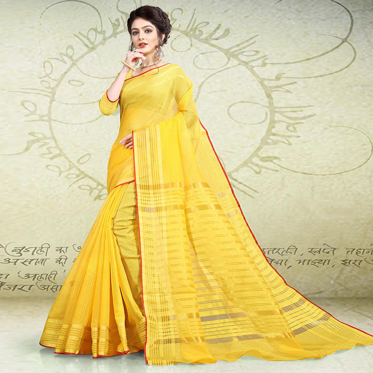 Charming Yellow Colored Festive Wear Poly Cotton Saree