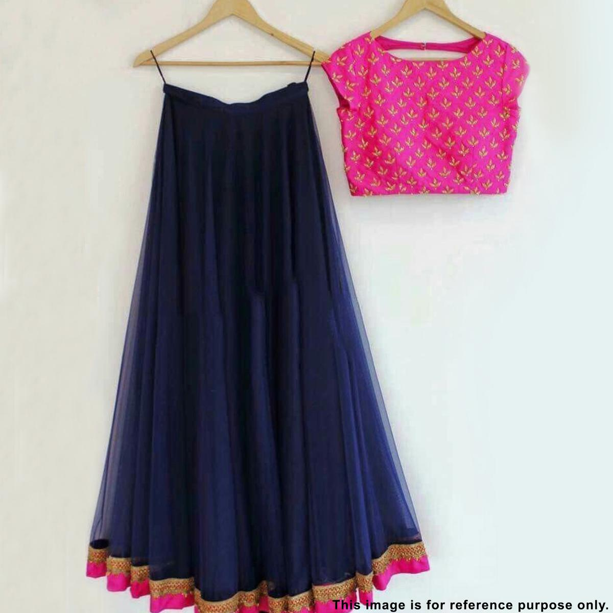 Glowing Navy Blue Colored Partywear Embroidered Georgette Lehenga Choli