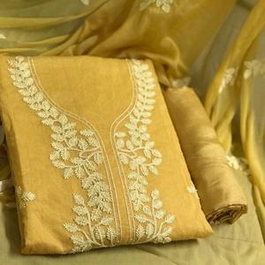 Beautiful Yellow Colored Partywear Embroidered Chanderi Cotton Dress Material