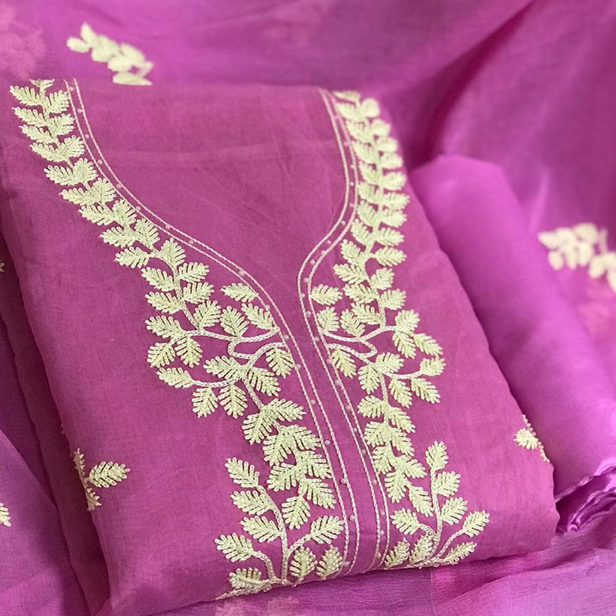 Gleaming Pink Colored Partywear Embroidered Chanderi Cotton Dress Material