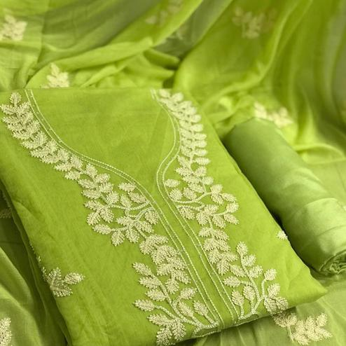 Blooming Green Colored Partywear Embroidered Chanderi Cotton Dress Material