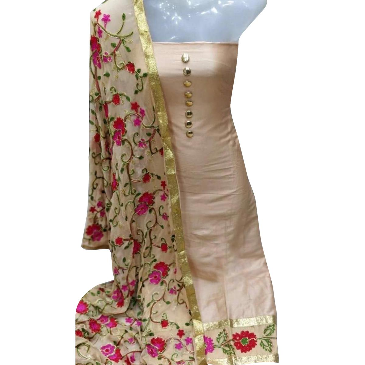 Impressive Cream Colored Partywear Embroidered Cotton Dress Material