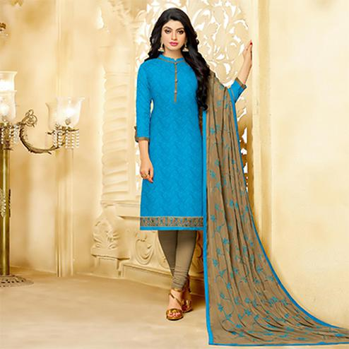 Desirable Blue Cotton Jacquard Designer Embroidered Dress Material