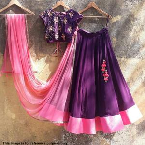 Marvellous Purple Color Partywear Embroidered Tapeta Silk Lehenga Choli
