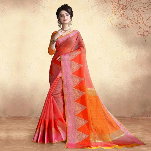 Innovative Pink Colored Festive Wear Cotton Silk Saree