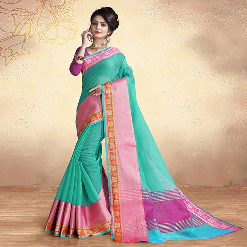 Exceptional Turquoise Green Colored Festive Wear Cotton Silk Saree