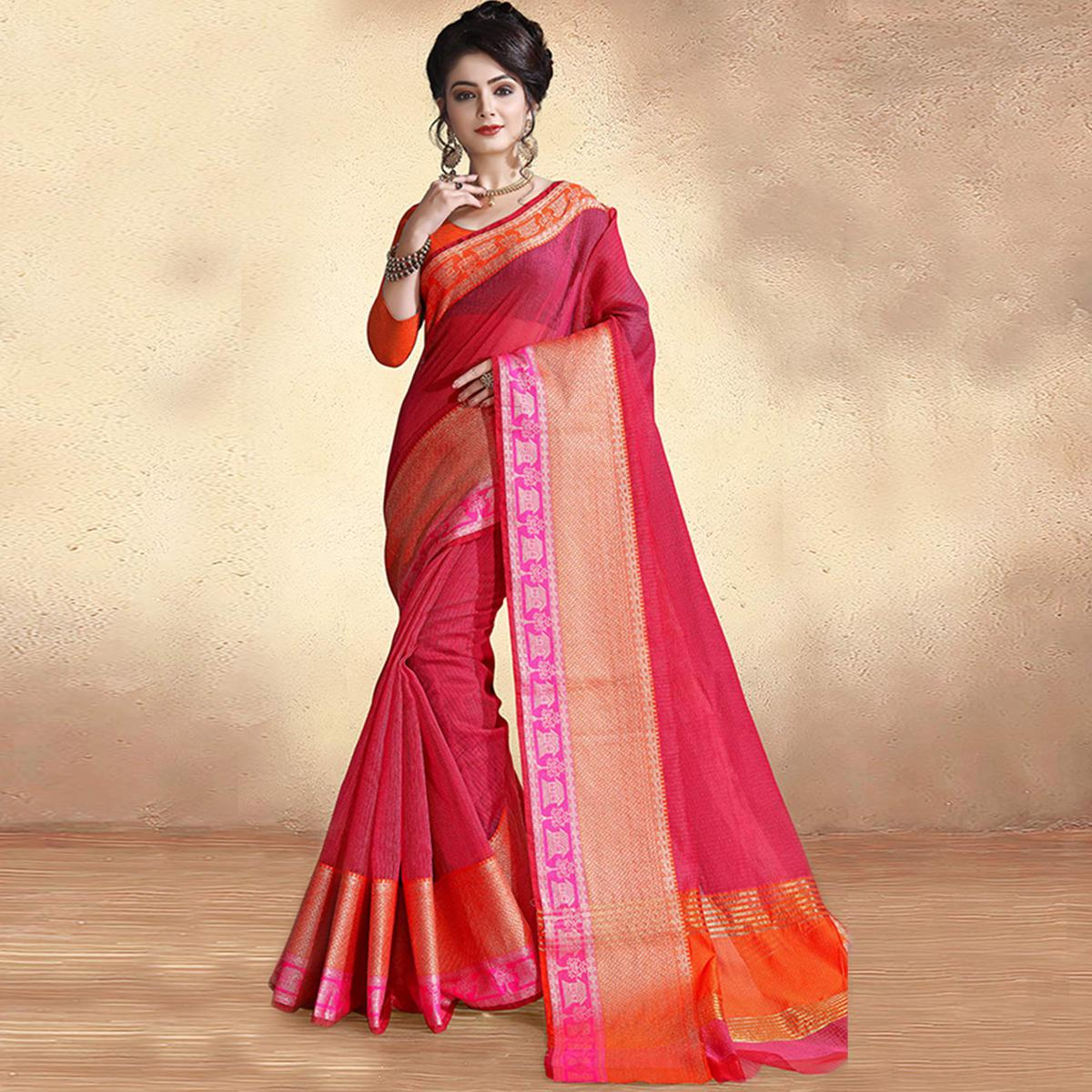 Excellent Dark Pink Colored Festive Wear Cotton Silk Saree