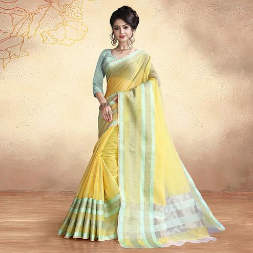 Ethnic Light Yellow Colored Festive Wear Cotton Silk Saree