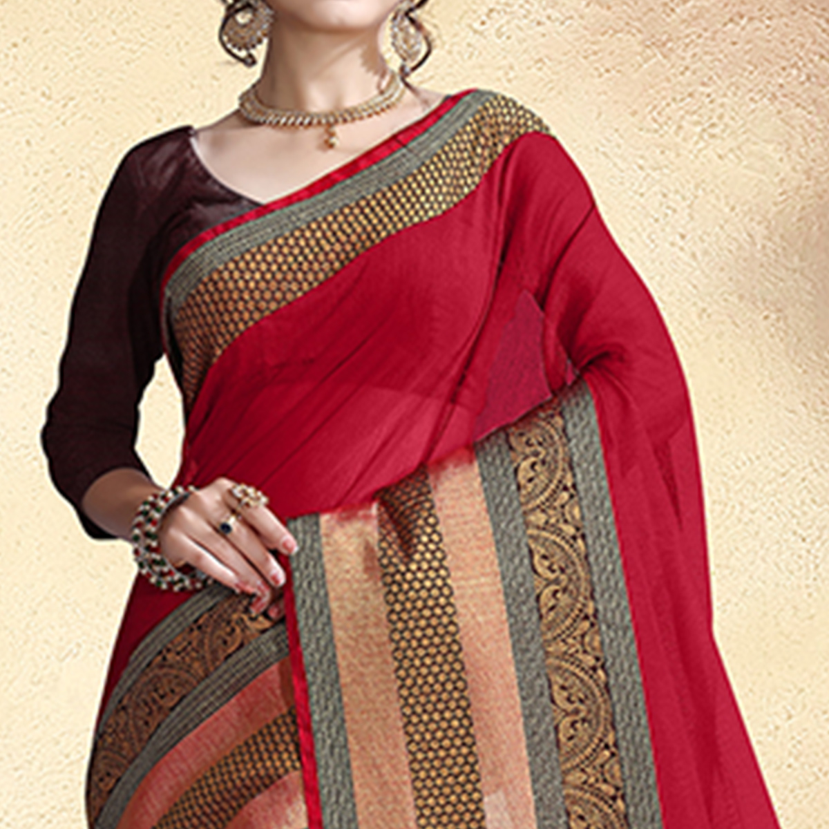 Starring Red Colored Festive Wear Cotton Silk Saree