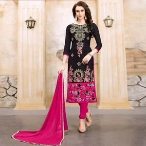 Stunning Black Colored Party Wear Embroidered Modal Dress Material