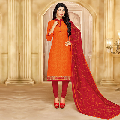 Charming Orange Cotton Jacquard Designer Embroidered Dress Material