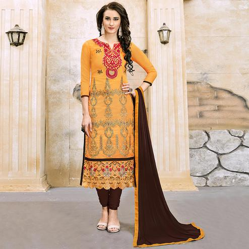 Blooming Mustard Yellow Colored Party Wear Embroidered Modal Dress Material