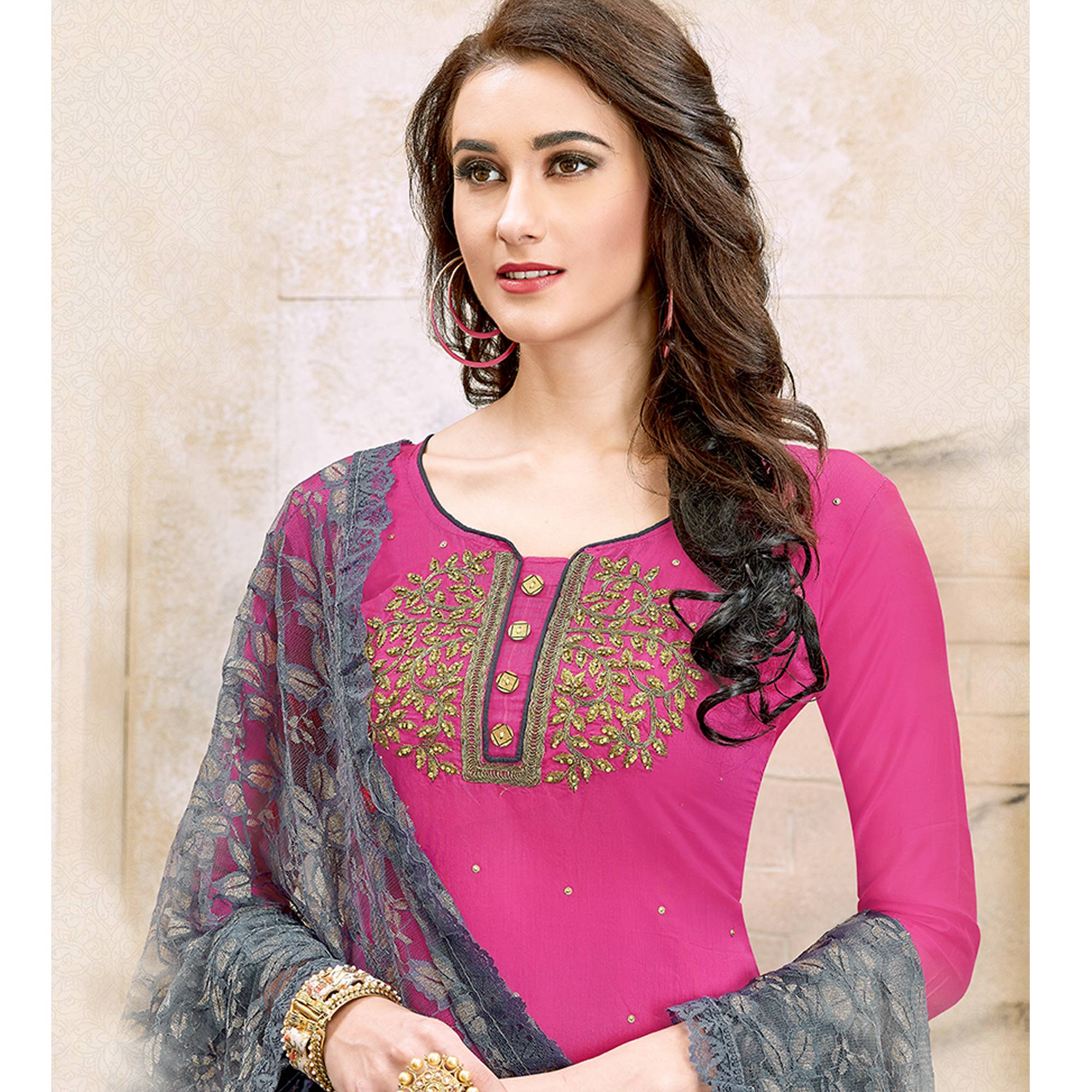 Marvellous Pink Colored Party Wear Embroidered Modal Dress Material