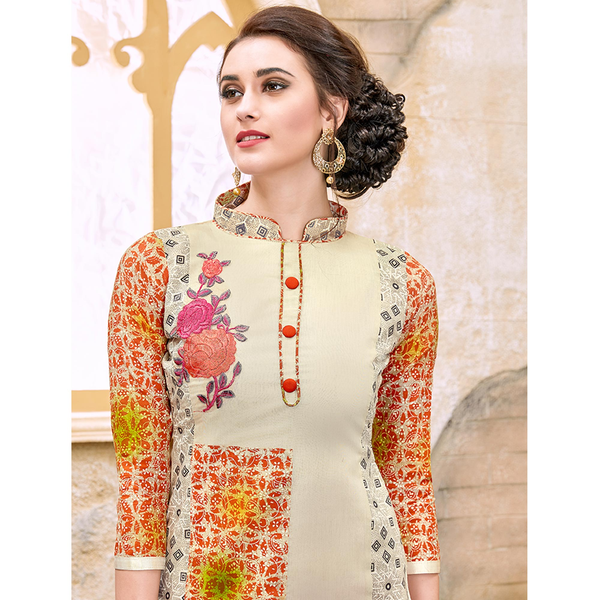 Mesmerising Cream Colored Party Wear Embroidered Modal Dress Material