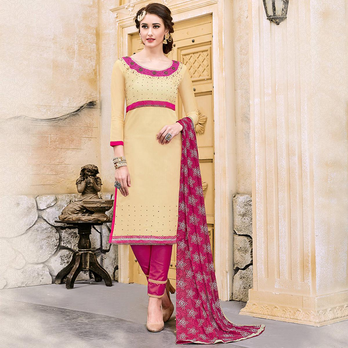 Ravishing Light Yellow Colored Party Wear Embroidered Modal Dress Material