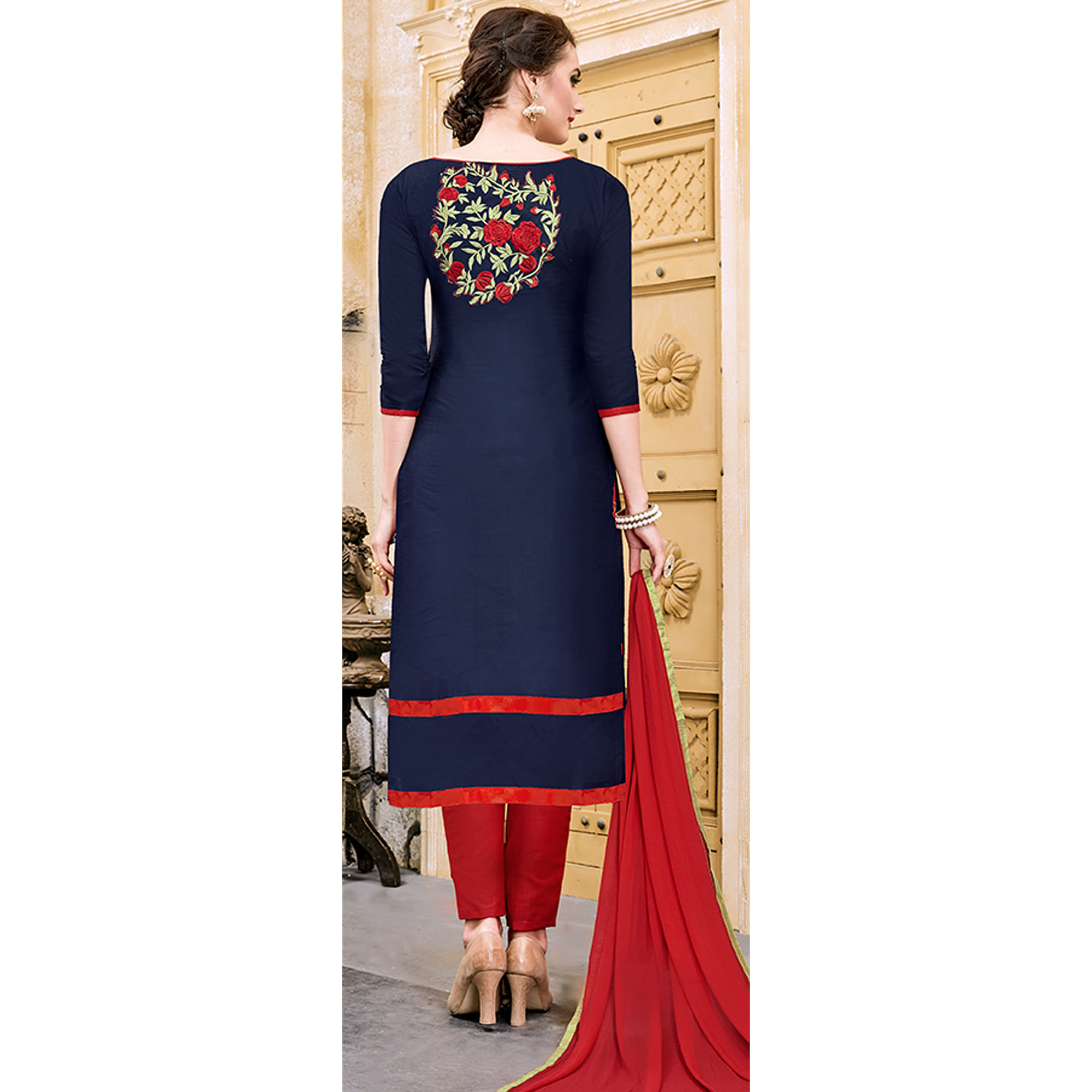 Eye-catching Navy Blue Colored Party Wear Embroidered Modal Dress Material
