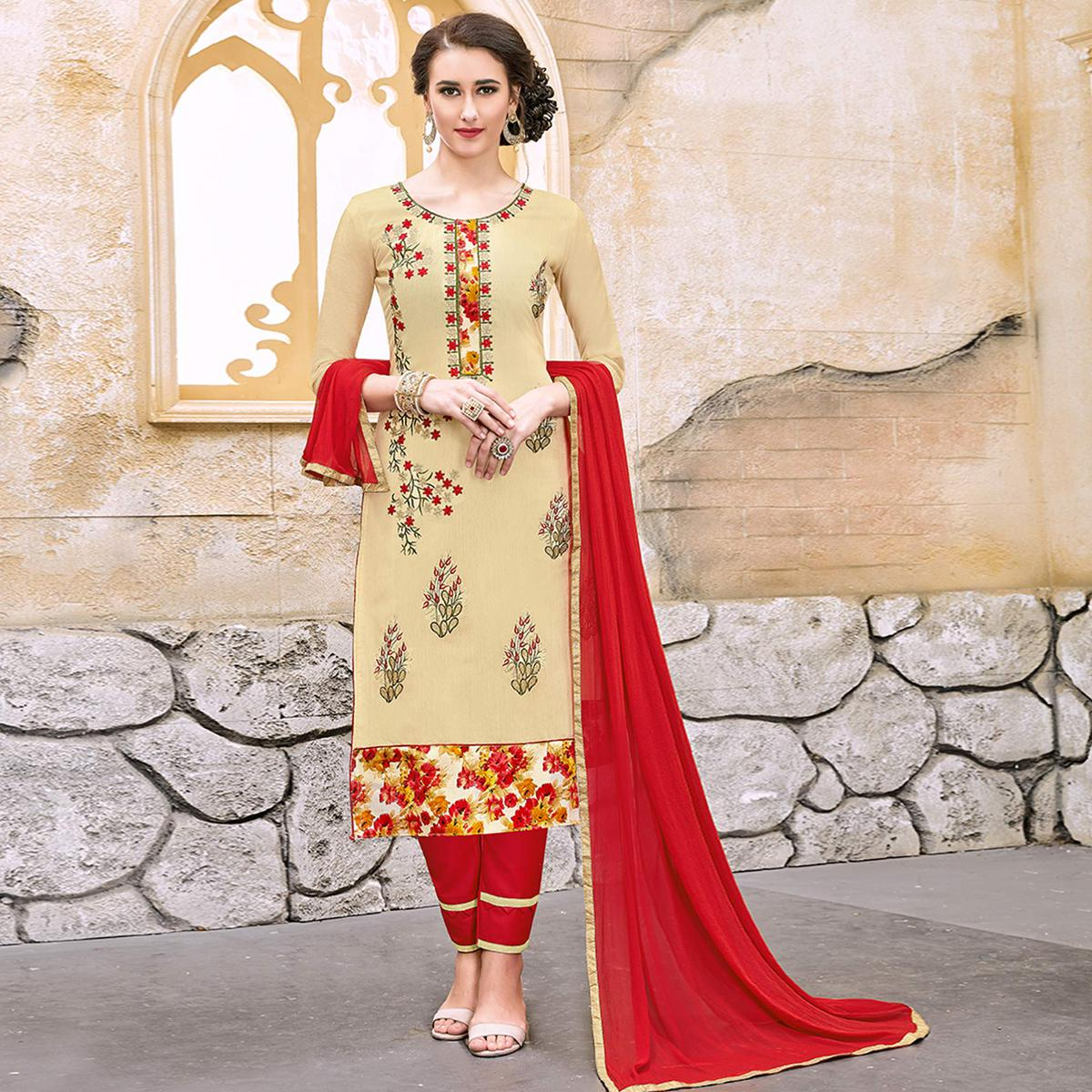 Amazing Beige Colored Party Wear Embroidered Modal Dress Material