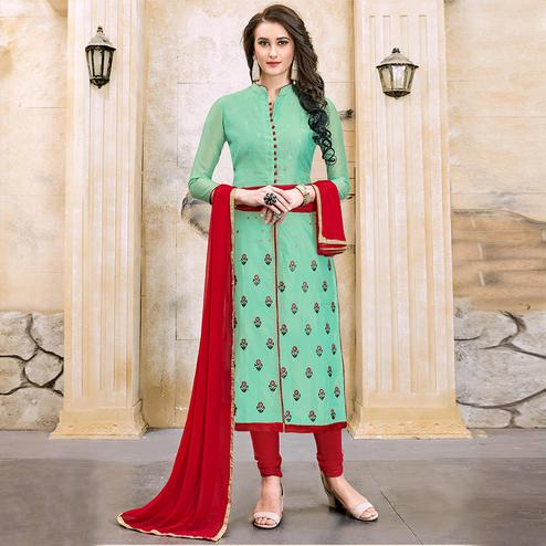 Exotic Green Colored Party Wear Embroidered Modal Dress Material