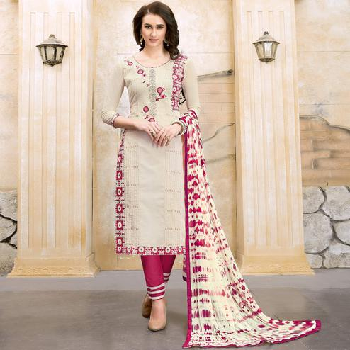 Majesty Cream Colored Party Wear Embroidered Modal Dress Material
