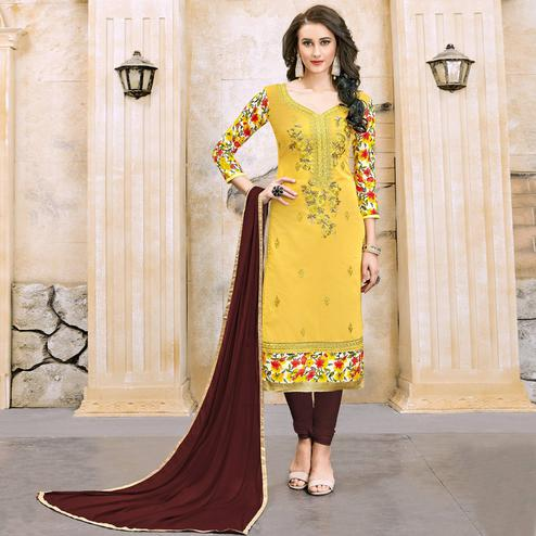 Preferable Yellow Colored Party Wear Embroidered Modal Dress Material