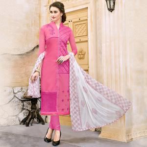 Attractive Pink Colored Party Wear Embroidered Modal Dress Material