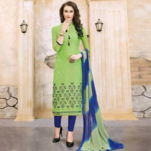 Beautiful Green Colored Party Wear Embroidered Modal Dress Material