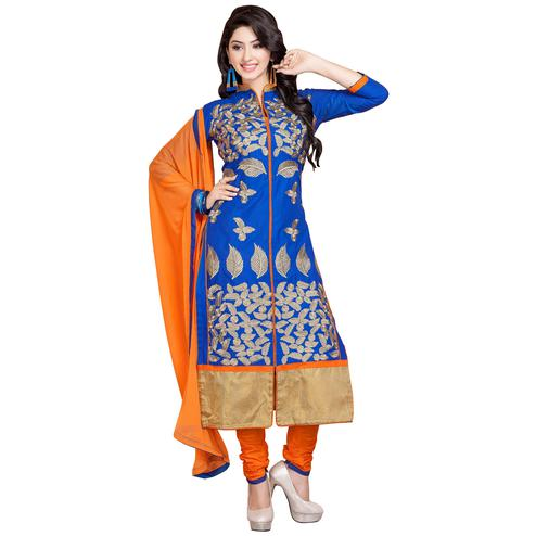 Capricious Blue Colored Party Wear Embroidered Cotton Dress Material