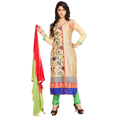 Flirty Beige Colored Party Wear Embroidered Cotton Dress Material
