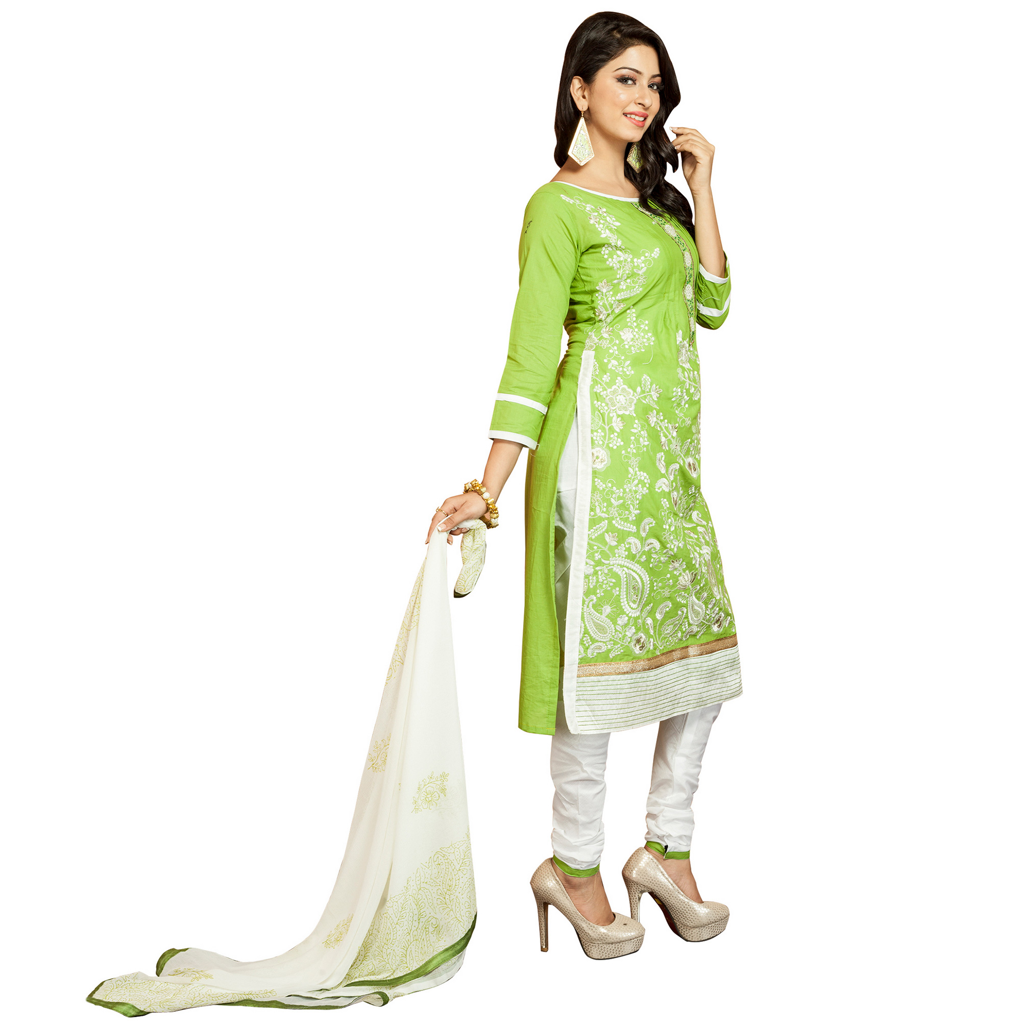 Glowing Green Colored Party Wear Embroidered Cotton Dress Material