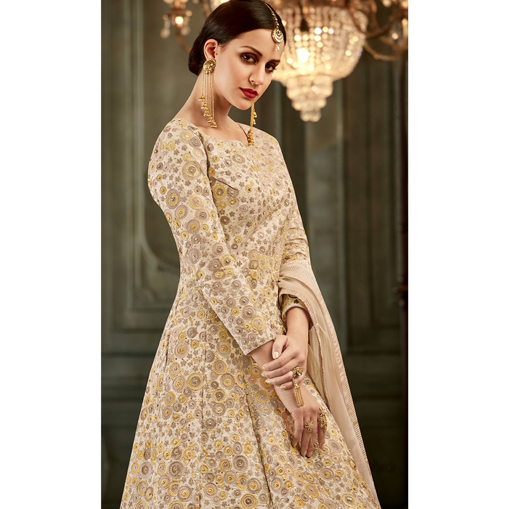 Impressive Cream Colored Partywear Embroidered Mulberry Silk Anarkali Suit