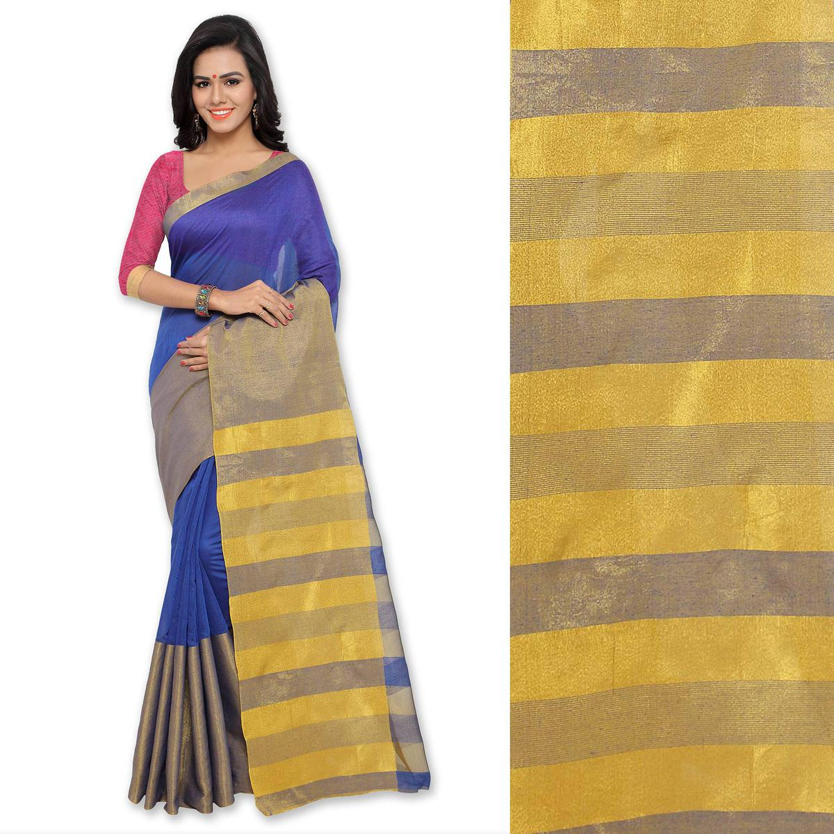 Blue Polyester Cotton Silk Saree