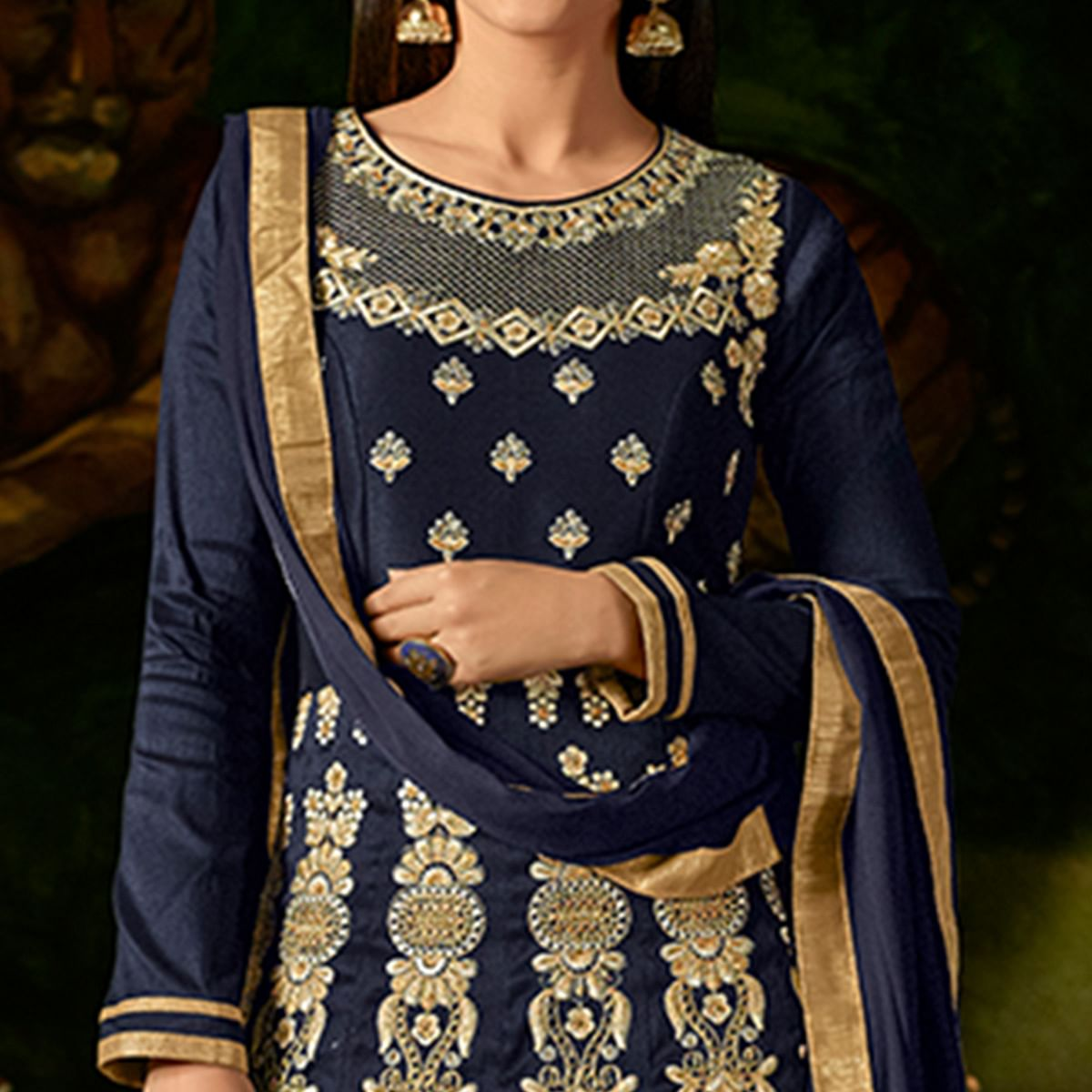 Surpassing Navy Blue Colored Party Wear Embroidered Mulberry Silk Anarkali Suit