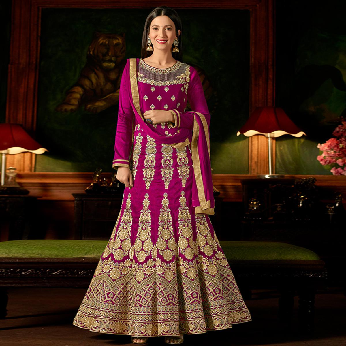 Entrancing Magenta Pink Colored Party Wear Embroidered Mulberry Silk Anarkali Suit