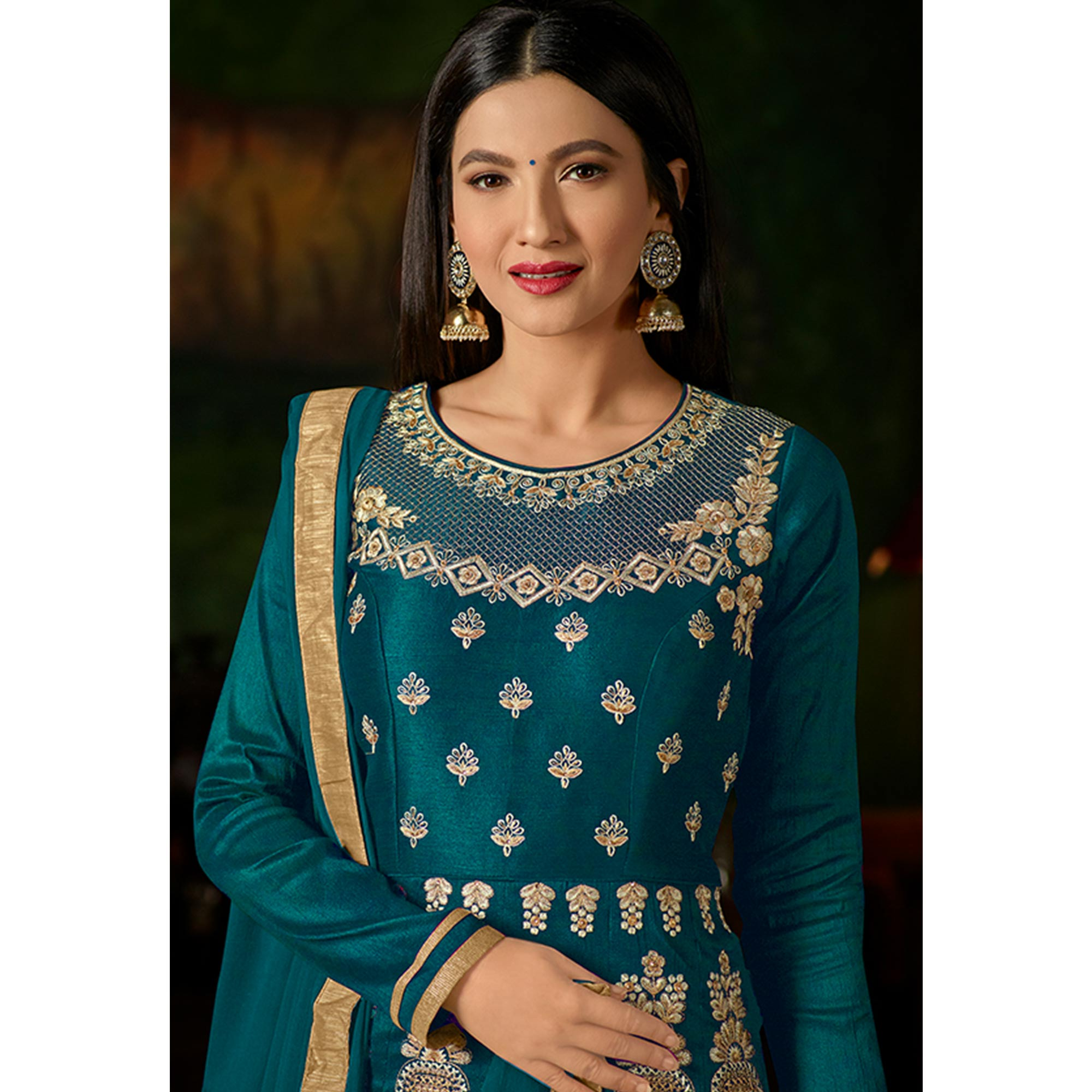 Imposing Teal Blue Colored Party Wear Embroidered Mulberry Silk Anarkali Suit