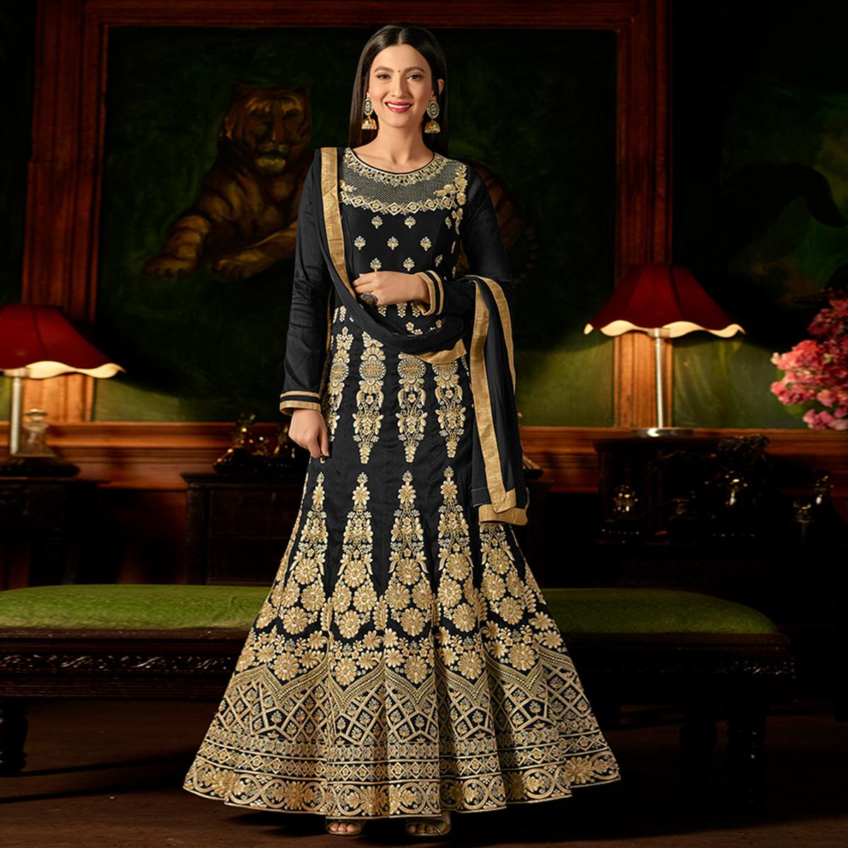 Blissful Black Colored Party Wear Embroidered Mulberry Silk Anarkali Suit
