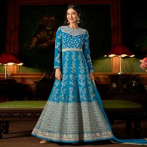Pleasance Sky Blue Colored Party Wear Embroidered Silk Anarkali Suit