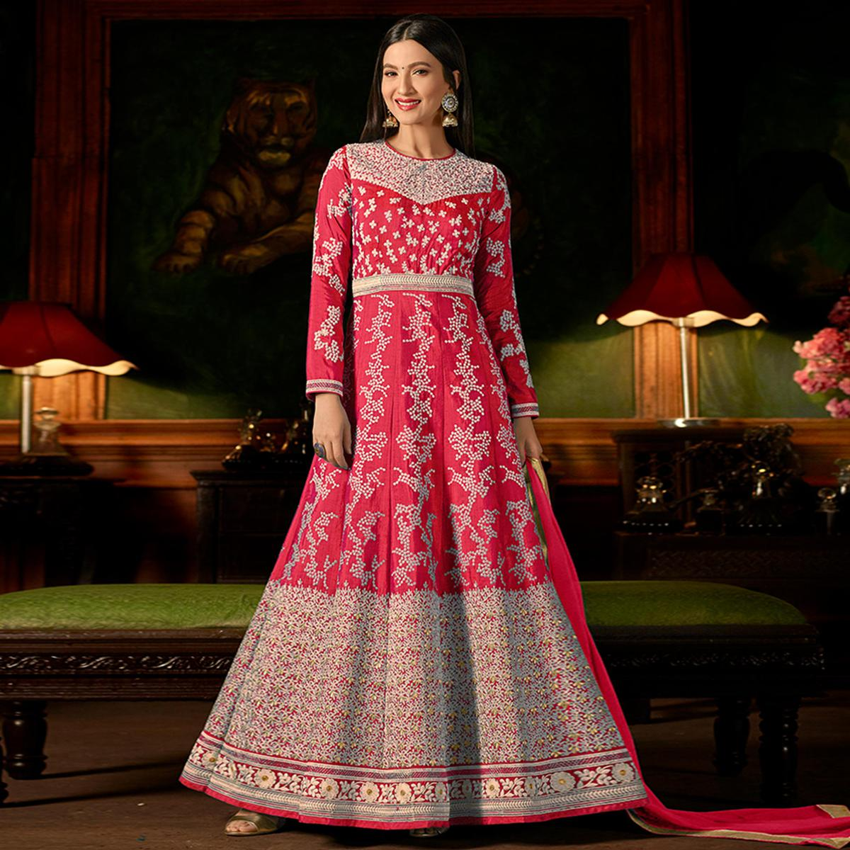 Engrossing Pink Colored Party Wear Embroidered Silk Anarkali Suit